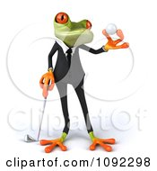 Clipart 3d Golfer Business Springer Frog Holding A Ball 2 Royalty Free CGI Illustration