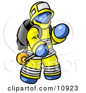 Blue Fireman In A Uniform Fighting A Fire Clipart Illustration by Leo Blanchette