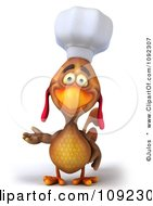 3d Chef Chicken Presenting With One Hand