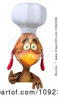 3d Chef Chicken Over A Sign With A Thumb Up