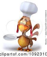 3d Chef Chicken Facing Left And Holding A Plate