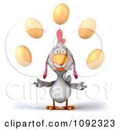 Clipart 3d White Chicken Juggling Eggs Royalty Free CGI Illustration