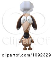 Clipart 3d Chef Dachshund Dog Facing Front Royalty Free CGI Illustration