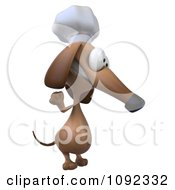 3d Chef Dachshund Dog Facing Right And Waving