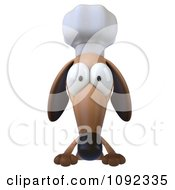 Clipart 3d Chef Dachshund Dog With A Sign Board 1 Royalty Free CGI Illustration