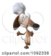 Clipart 3d Chef Dachshund Dog With A Sign Board 2 Royalty Free CGI Illustration