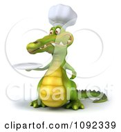Clipart 3d Chef Crocodile Holding A White Plate 2 Royalty Free CGI Illustration