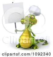 Clipart 3d Chef Crocodile Holding A Sign 1 Royalty Free CGI Illustration by Julos