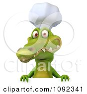 Clipart 3d Chef Crocodile Holding A Sign 2 Royalty Free CGI Illustration