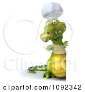 Clipart 3d Chef Crocodile Holding A Sign 3 Royalty Free CGI Illustration
