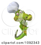 Clipart 3d Chef Crocodile Holding A Sign 4 Royalty Free CGI Illustration
