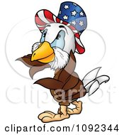 Clipart American Bald Eagle Wearing An Uncle Sam Hat Royalty Free Vector Illustration by dero
