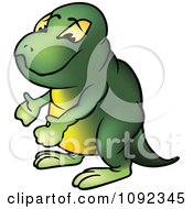 Clipart Green Brontosaurus Gesturing Royalty Free Vector Illustration