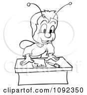 Clipart Outlined Beetle Leaning Over A Desk Royalty Free Vector Illustration