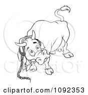 Clipart Outlined Cow Wearing Headphones Royalty Free Vector Illustration by dero