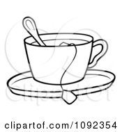 Outlined Tea Cup With A Spoon Bag And Saucer
