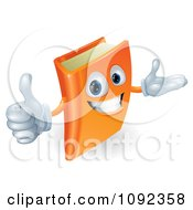 Clipart 3d Orange Book Character Smiling And Holding A Thumb Up Royalty Free Vector Illustration