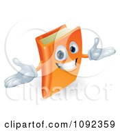 Clipart 3d Orange Book Character Smiling And Shrugging Royalty Free Vector Illustration