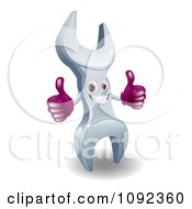 Clipart 3d Happy Thumbs Up Wrench Character Royalty Free Vector Illustration