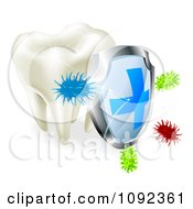 Clipart 3d Shield Protecting A Human Tooth From Decay And Bacteria Royalty Free Vector Illustration