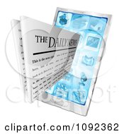 Clipart 3d Daily Newspaper Emerging From A Cell Phone Royalty Free Vector Illustration