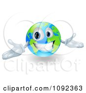 Clipart 3d Happy Smiling Globe Mascot Gesturing With His Hands Royalty Free Vector Illustration