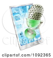 Clipart 3d Retro Microphone Emerging From A Cell Phone Royalty Free Vector Illustration