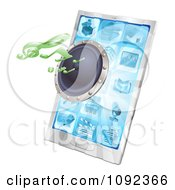 Clipart 3d Music Notes And Speaker Emerging From A Cell Phone Royalty Free Vector Illustration by AtStockIllustration