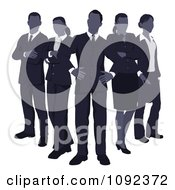 Clipart Blue Faceless Business Team Standing In V Formation Royalty Free Vector Illustration by AtStockIllustration