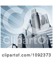 Clipart 3d Blue Urban Office Skyskrapers With A Solar Panel Sky Royalty Free Vector Illustration