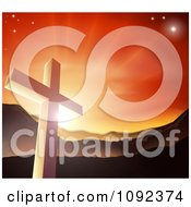 Clipart Christian Cross Against A Sunset And Mountains Royalty Free Vector Illustration