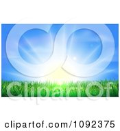 Clipart The Sun Shining Brightly Over Green Grass Royalty Free Vector Illustration