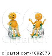 Clipart Two 3d Stressed And Upset Orange People In Wheelchairs 2 Royalty Free CGI Illustration