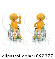 Clipart Two 3d Happy And Waving Orange People In Wheelchairs 2 Royalty Free CGI Illustration