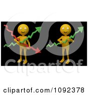 Clipart 3d Happy Orange People Holding Financial Graph Arrows On Black Royalty Free CGI Illustration by Mopic