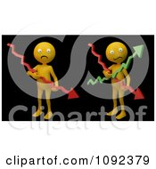 Clipart 3d Stressed Orange People Holding Financial Graph Arrows On Black Royalty Free CGI Illustration
