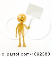 3d Happy Orange Person Holding A Blank Sign