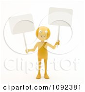 3d Happy Orange Person Holding Two Blank Signs