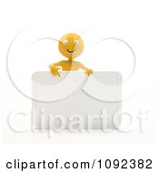 Clipart 3d Happy Orange Person Presenting A Blank Sign 1 Royalty Free CGI Illustration