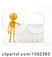 3d Happy Orange Person Presenting A Blank Sign 2