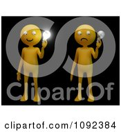 Clipart 3d Orange People Holding Bright And Non Light Light Bulbs On Black Royalty Free CGI Illustration by Mopic