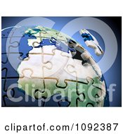 Clipart 3d Final Puzzle Piece Hovering Over Earth Royalty Free CGI Illustration