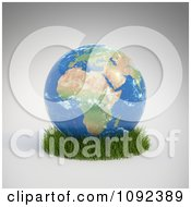 Clipart 3d African Globe Resting In Grass Royalty Free CGI Illustration