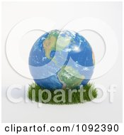 Clipart 3d American Globe Resting In Grass Royalty Free CGI Illustration