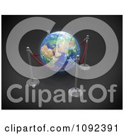 Clipart 3d Earth Protected By Rope Stanchions Royalty Free CGI Illustration