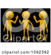 Clipart 3d Orange People Waving On Black Royalty Free CGI Illustration by Mopic