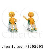 Clipart Two 3d Happy And Waving Orange People In Wheelchairs 1 Royalty Free CGI Illustration