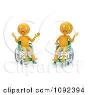 Clipart Two 3d Stressed And Upset Orange People In Wheelchairs 1 Royalty Free CGI Illustration