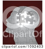 Clipart 3d Human Puzzle Piece Profiled Head With Glowing Light Royalty Free CGI Illustration