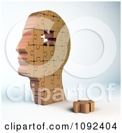 Clipart 3d Copper Human Puzzle Piece Head Royalty Free CGI Illustration by Mopic